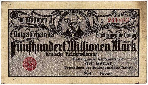 1923_gdansk_500mln Schopenhauer money