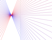 Blue and red converging lines
