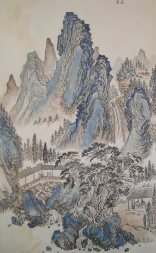 blue mountain range painting