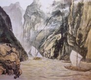 boats river chinese painting