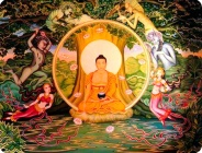 Buddha under bodhi tree demons