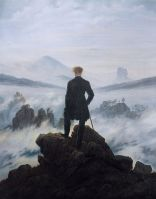 Caspar Wanderer above the sea of fog (mountains hiker)