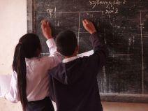Children in Laos at the Blackboard