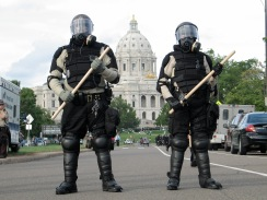 cops guard the capital