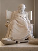dead socrates statue