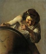 Democratus laughs with globe