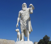 diogenes dog and lamp statue