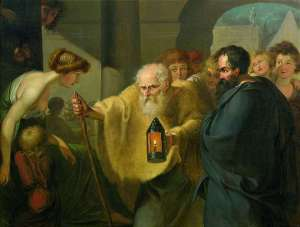 Diogenes looks for an honest man with a lamp