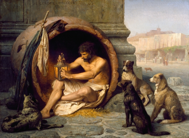 diogenes with pot and dogs
