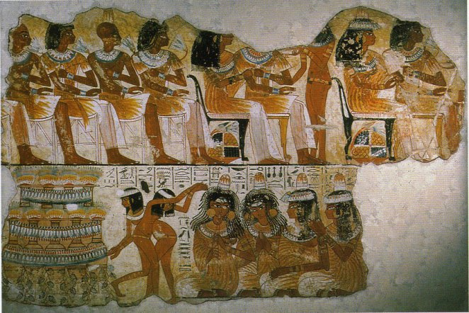 Egyptian relief painting music girls