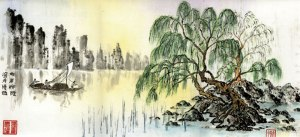 fishing boat willow chinese painting