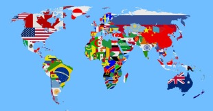global map with flags