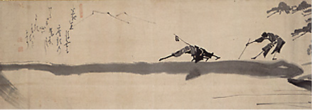 hakuin two blind men crossing a log bridge