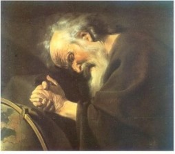 Heraclitus sad painting
