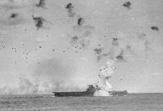 Japanese Kamikaze Planes Attack US Battleship