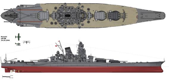 Musashi Battleship 1944
