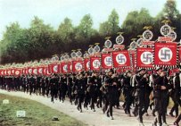 nazis marching with banners