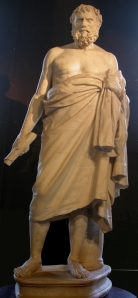 pythagoras statue with toga