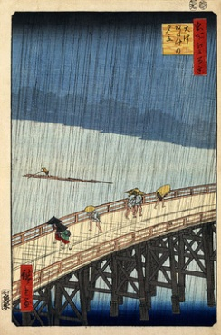 rain bridge japanese print