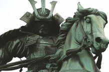 samurai on horseback statue