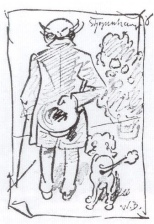 Sketch of Schopenhauer and his pet poodle