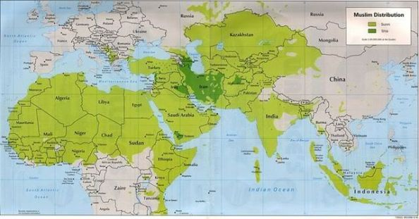 sunni shiite muslim distribution map