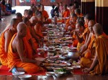 Theravada Monks Eating Together