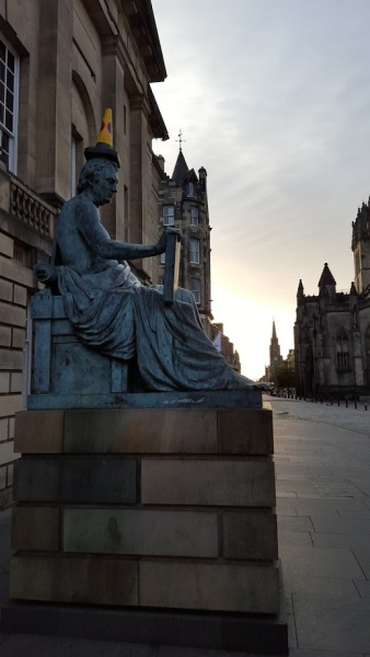 Hume Statue Edinburgh Cone on Head