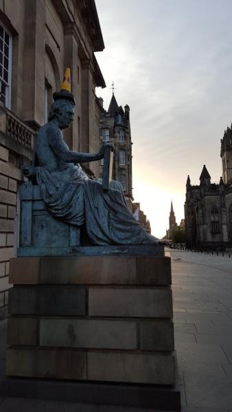 Hume Statue Edinburgh Cone on Head