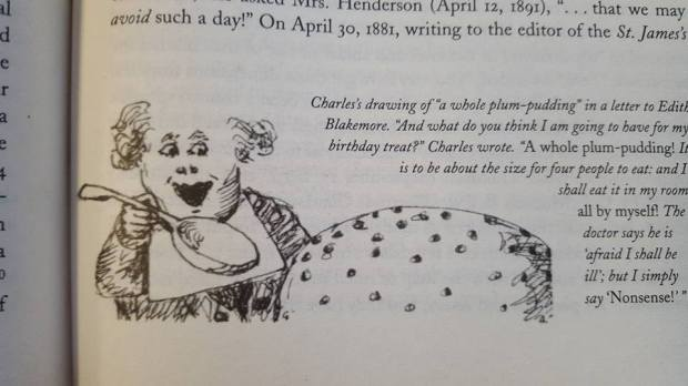 Lewis Carroll eating a plum pudding