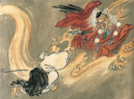 Buddhist Monk chases a demon