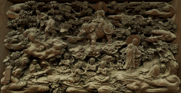 buddhist wood carving elephant demons