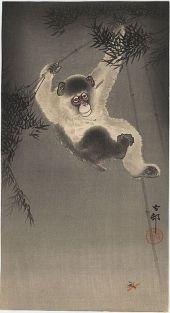 monkey bamboo painting