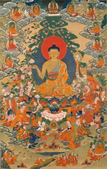 Buddha teaching followers