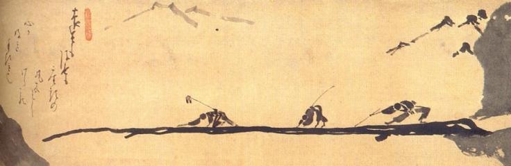 blind men crossing a log bridge hakuin