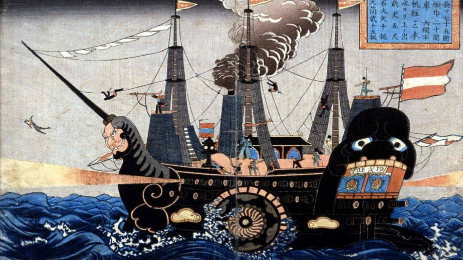 Japanese depiction of american warship 1854